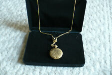 Vintage Gold Snuff Perfume Locket Pendant Necklace Necklace w pearl accent 22""