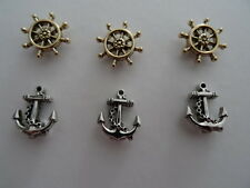 6 pc Embellishments 3 Anchors and 3 Ships Wheel for adorning cards and crafts