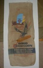 VINTAGE 1950 DBL SIDED CANVAS SHADYBROOK SEED CORN FEED SACK INDIANA W/CERT TAGS