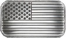 American Flag 1 oz. Silver Bar .999 Fine Mint Condition Original Plastic Sheet!