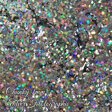 Chunky Hexagon Nail Glitter Gel/acrylic Nail art Holographic Silver 6g Bag