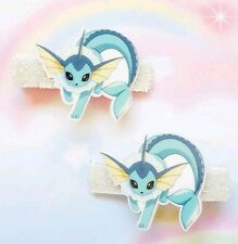 New Pokemon Vaporeon Anime Cartoon Cosplay Kawaii Hair Clip Cartoon Hair Bow