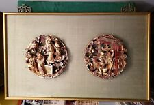 ANTIQUE CHINESE CARVED WOOD PANELS - GODDESS ON CLOUD & DANCERS