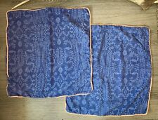 2 Anthropologie Patina Vie Blue Flora Euro Pillow Sham Shams Cases Bedding