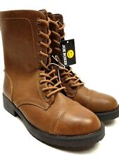 978cfadddd38 Joe Boxer Womens Brown Boots Lace Front Zip Up Back Size 8 Med Width Plaid  Liner