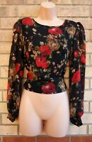 ANGEL TYE BLACK RED BROWN FLORAL CHIFFON LONG SLEEVE BLOUSE T SHIRT TOP 8 10 S