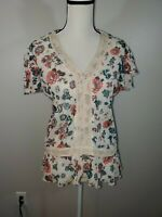 Democracy Size Small Womens Shirt Sheer Floral Short Sleeve V Neck Top