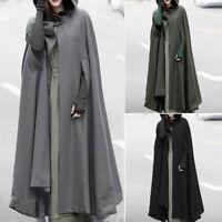 Hiver Femme Patchwork Pattern Long Manteau à Capuche Ponchos Chaud Oversize