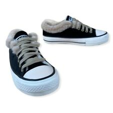 Axdans Ads Star Black Velvet & Cream Faux Fur Lined Warm Lace-Up Sneakers