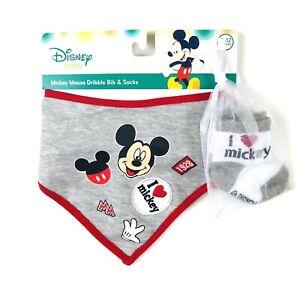 Disney Baby Grey Cotton Mickey Mouse Embroidery Bandana Bib Sock Set 0-12 MO NEW
