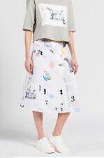 adidas Originals Women's Info Poster Mid Length A-Line Skirt Retro Fashion White