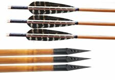10 PK Bamboo Arrows Fletching Feathers with 150 Grain Broadheads Archery Hunting