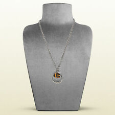 """GUCCI Bamboo Horsebit Pendant Necklace in Sterling Silver, 29.5"""""""