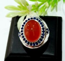 Natural Rojo Onix & Zafiro Azul Piedra Con 925 Anillo Plata de Ley para Hombre