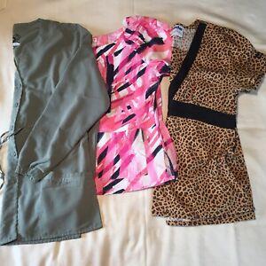 Lot of 3 Women's S/M Scrub Tops Small LS Dickies, Med. Koi, Landau Pockets Pink