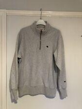 Champion 1/4 Zip Jumper Sweatshirt Grey White Fleece Large
