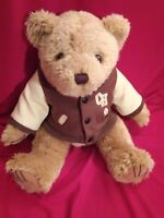 """14"""" Hometown Products Bear with Brown Jacket Letter CH Stuffed Animal Plush Toy"""