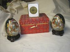 Yi Lin Arts 2 Eggs Dragon Design! In Red Cloth Box W Stands For Egg RARE!
