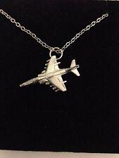 "Harrier T10 C22 V/STOL Aircraft Emblem Silver Platinum Plated Necklace 18"""