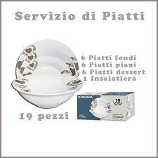 servizio di piatti porcellana cucina set completo 18 pezzi insalatiera bianchi