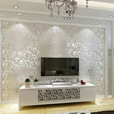 10M Wallpaper 3D Victorian Damask Roll Silver Luxury Wall Covering Home Decor US