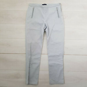 M&S Cotton Trousers Size 14 W32 L28 Grey Fitted Zipped Pockets Stretch High Rise