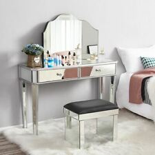 Mirrored Glass Dressing Table 2 Drawers 3 Folding Table Stool Bedroom Dresser