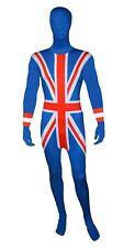 Mens Lycra Bodysuit Jumpsuit British Union Jack Zentai Suit 2nd Skin Fancy Dress