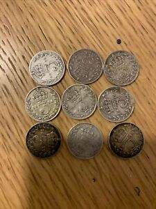 9 X KING GEORGE V, SILVER THREEPENCE COINS DATED 1911 - 1919. B
