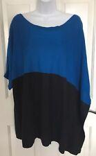 DKNYC Black Blue Asymmetric Short Sleeve Sweater Medium Large EUC