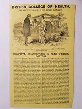 1855 British College of Health Arsenic Rare Quack Medicine Morison Advertisement