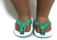 """Green Sequined Flip Flops Sandal Shoes made for 18"""" American Girl Doll Clothes"""