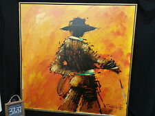 Large Vintage Canvas Oil Painting 37x37 Spanish Matador Bull Fighter by CANDACE