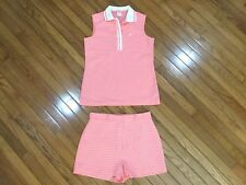 Catalina Women's Pink Golf Outfit Sleeveless Polo Shirt Size XL Shorts Size 16