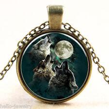 1 Halskette Halsschmuck mit Wolf Mond Edelstein Anhänger Geschenk M10584