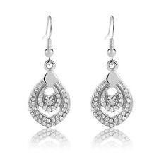 Drop Drop Dangle Earrings Bridal E1011 Luxury Silver Full of Rhinestones Water