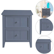 Contemporary Two Drawer Grey Wooden Bedside Table Unit Cabinet