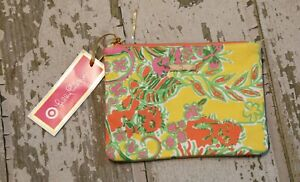 NWT LILLY PULITZER for Target Pink Orange Yellow Clutch Cosmetic Bag Zipper top
