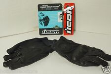 BRAND NEW Women's ICON Pursuit Stealth Black Leather Motorcycle Gloves Sz Large