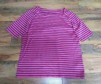 LL Bean Women's Pink Blue Striped Short Sleeve Shirt Size L 100% Supima Cotton