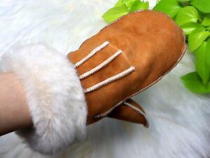Women's Sheepskin Shearling Mittens, Winter Gloves, Handmade in Europe