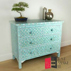 Bone Inlay Chest of Drawer Sideboard Blue Floral (MADE TO ORDER)
