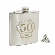 Personalised Age 6oz Hip Flask+Funnel+Box - Free Engraving-18th, 21st, 30th,40th
