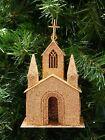 GOLD GLITTERED PUTZ CARDBOARD CHURCH w/ CROSS ON ROOF CHRISTMAS ORNAMENT