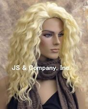 Human Hair Blend Wig Long Wavy Blonde Flat iron Heat Safe sfa 613