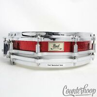 """Pearl Red Brass 14x3.5""""Hand Hammered Free Floating Piccolo Snare Drum 21st Anniv"""