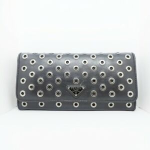Auth PRADA 1MH132 Black Leather Long Wallet
