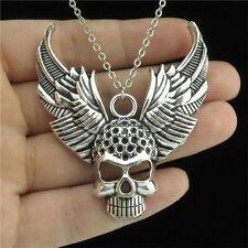 "6-3 Short 18"" Silver Chain Collar Necklace Wing Keletons Skull Pendant Men Boys"