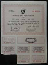 PERU Bonos de Pensiones 10Inti 1986, high inflation government bond 30.5% annual