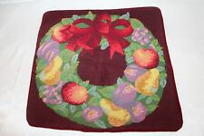 """Finished Completed Fruit Bow Wreath Needlepoint Pillow Zippered Case 15"""" x 15"""""""